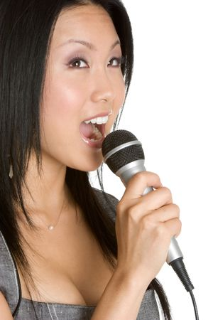 Singing Asian Woman Stock Photo