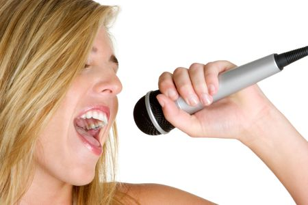 kareoke: Woman Singing Karaoke