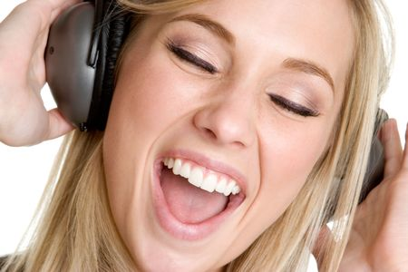 Singing Headphones Girl Stock Photo - 3307684