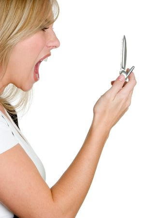 Yelling Phone Woman Stock Photo