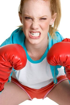 throw up: Aggressive Boxing Woman