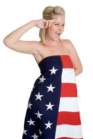 Saluting Flag Woman Stock Photo - 3320527