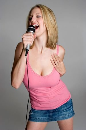 kareoke: Blond Woman Singing