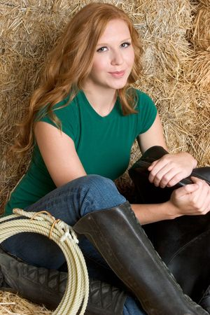 barn boots: Sitting Country Girl