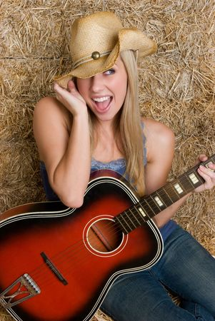 open country: Happy Country Girl Stock Photo