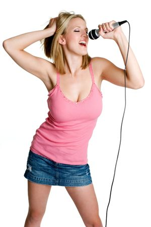 Blond Girl Singing Stock Photo - 3433802