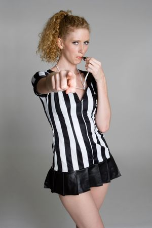 Referee Blowing Whistle photo