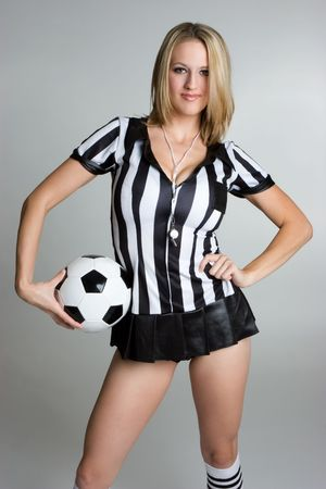 Blond Referee With Soccer Ball