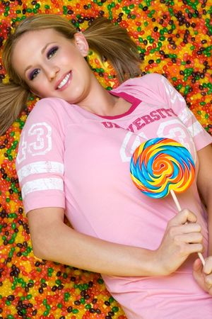 Woman Laying in Candy Stock Photo - 3558034