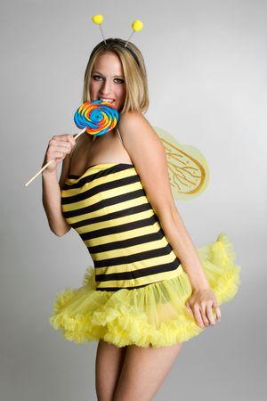 Bee With Lollipop 版權商用圖片