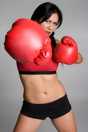 woman boxing gloves: Hispanic Boxer