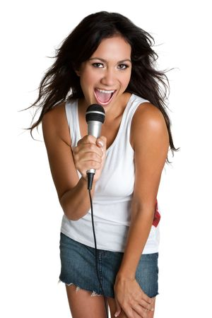 Hispanic Girl Singing Stock Photo