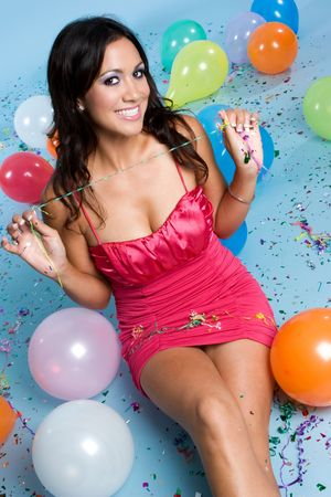 Girl With Balloons Stock Photo - 3623587