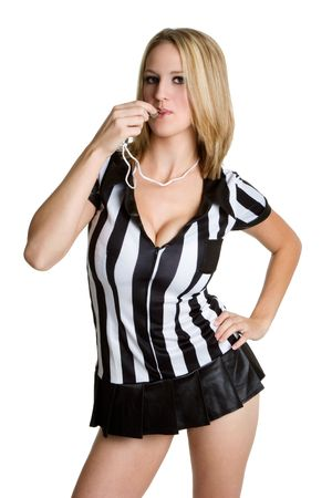 Girl Referee Blowing Whistle Stock Photo