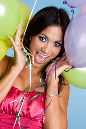 Excited Balloon Girl Stock Photo - 3641283