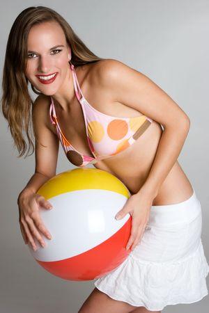 beach ball girl: Juguetona pelota de playa Chica Foto de archivo