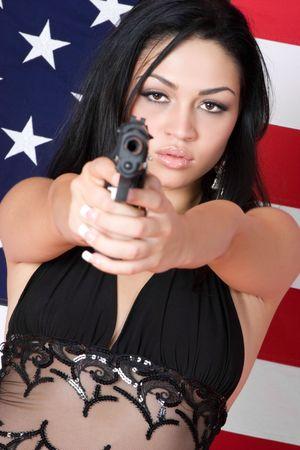 Woman Holding Gun Stock Photo - 3660793