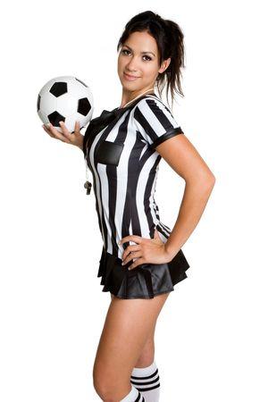 arbitros: Mujer �rbitro con bal�n Foto de archivo