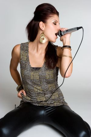 rockstars: Singing Woman Stock Photo