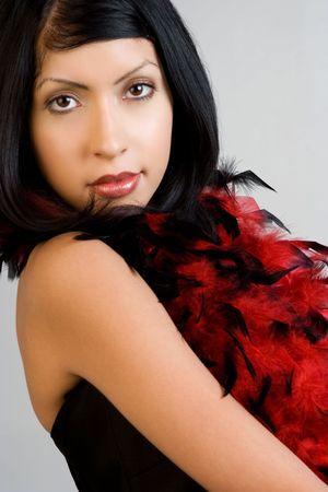 boas: Girl Wearing Feather Boa