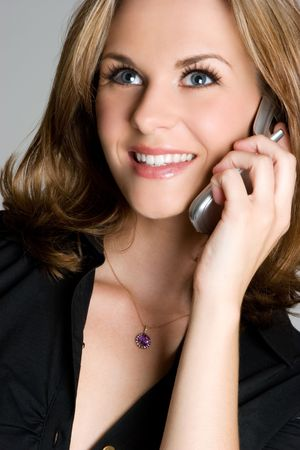 Smiling Phone Woman Stock Photo - 3701713
