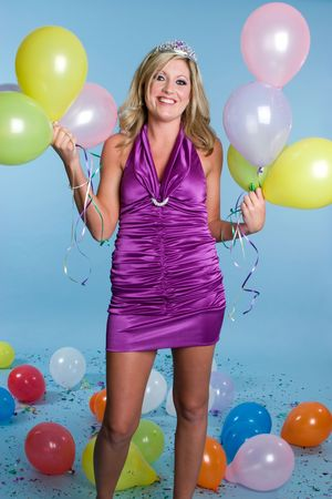 Birthday Woman With Balloons Stock Photo - 3713960