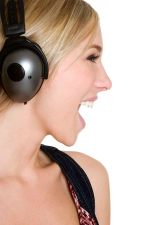 perfil de mujer rostro: Auriculares Chica