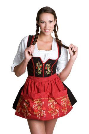 Woman Wearing German Dirndl Фото со стока