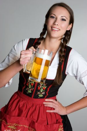 german girl: Woman With Beer Stock Photo