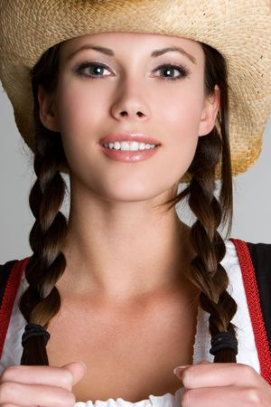 Beautiful Smiling Cowgirl Stock Photo - 3902211