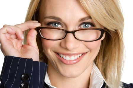 smile close up: Woman Wearing Glasses