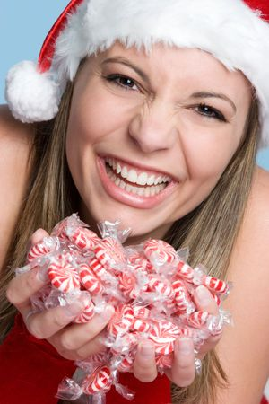 Girl Holding Christmas Candy Stock Photo - 3930145