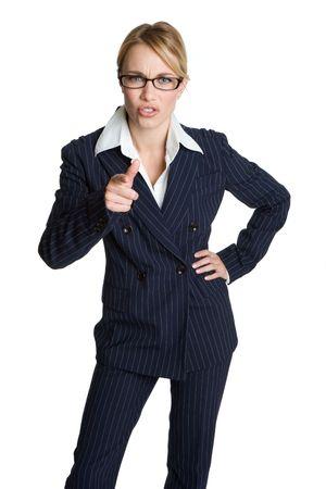 mujer enojada: De negocios que apunta enojada