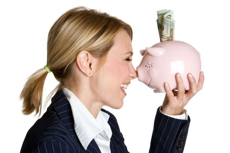 Woman Holding Piggy Bank Stock Photo - 3951297