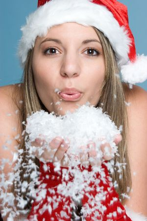 Winter Woman Blowing Snow Stock Photo - 3963201