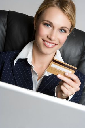 ordering: Businesswoman Holding Credit Card