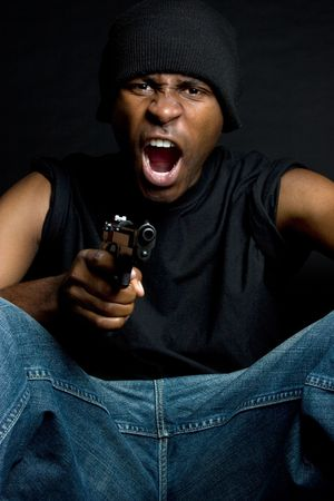 beanies: Angry Man With Gun