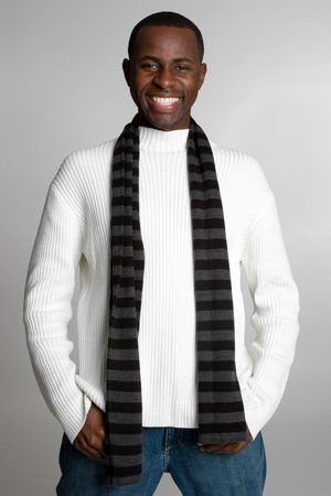 african american male: Smiling Winter Guy