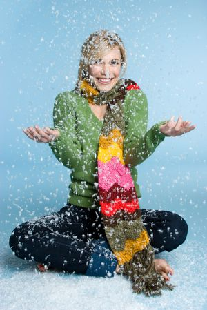 Girl Playing in Snow Stock Photo - 3990691