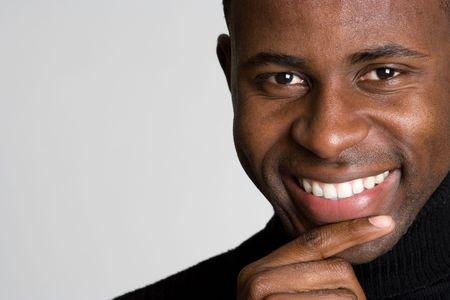 visage homme: Souriant Black Man