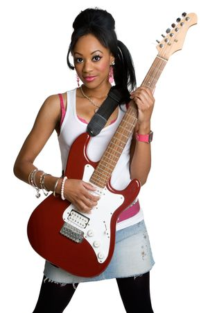 rockstars: Girl With Guitar Stock Photo