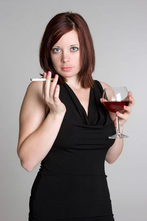 Woman With Wine and Cigarette