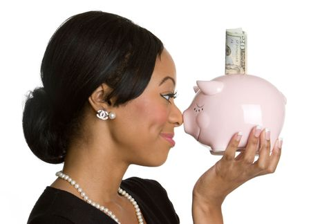 Woman Holding Piggy Bank Stock Photo - 4055804