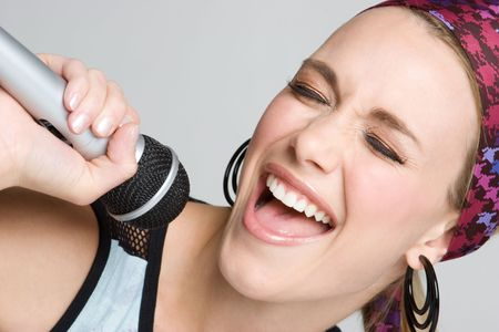 Singing Karaoke Girl Stock Photo - 4082197
