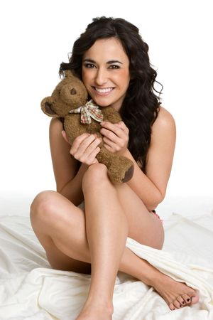 jeune fille adolescente nue: Woman Holding Teddy Bear LANG_EVOIMAGES