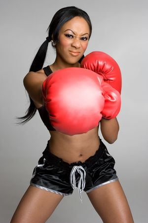 girl punch: Angry Boxing Woman Stock Photo