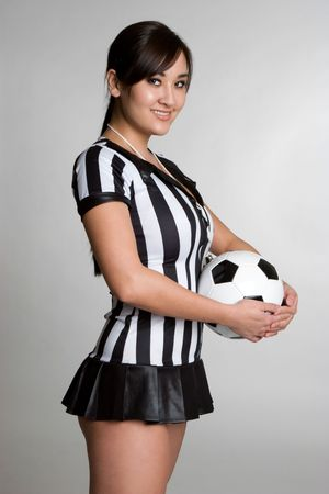 costume ball: Asian Referee With Soccer Ball LANG_EVOIMAGES