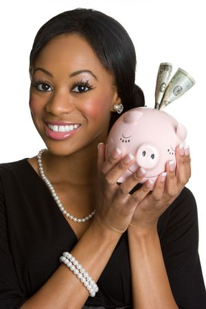Smiling Woman With Piggy Bank Stock Photo - 4222485