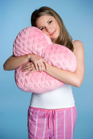 in pajama: Woman Holding Heart