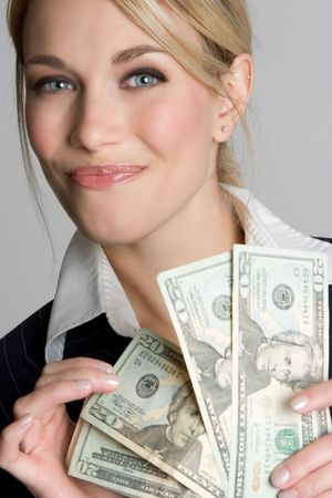 wealthy: Businesswoman Counting Money